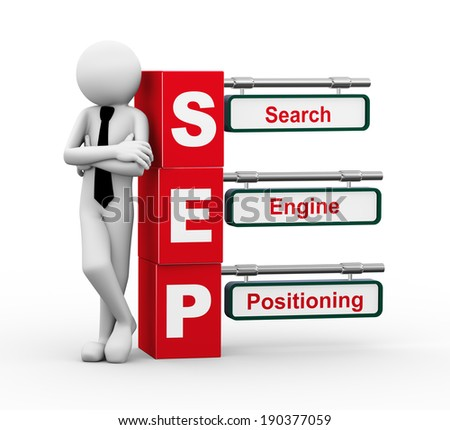 3d rendering of business person standing with sep - search engine positioning. 3d white people man character. - stock photo