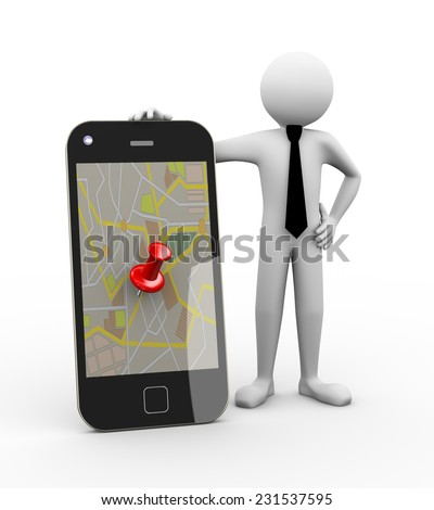 3d rendering of business person with smart phone mobile device showing thumbtack on gps map. 3d white people man character - stock photo