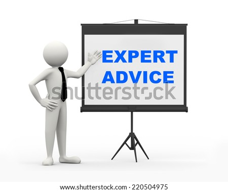 3d rendering of business person with tripod projector screen presenting concept of Expert Advice. 3d white people man character - stock photo