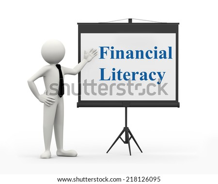3d rendering of business person with tripod projector screen presenting concept of financial literacy . 3d white people man character - stock photo