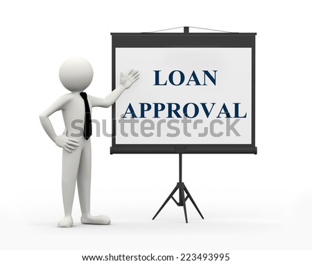 3d rendering of business person with tripod projector screen presenting concept of loan approval. 3d white people man character - stock photo