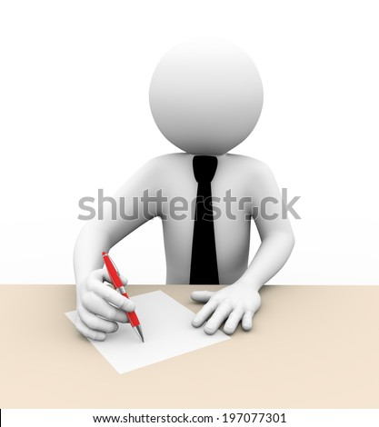 3d rendering of business person writing on paper. 3d white people man character. - stock photo
