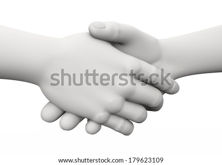 3d rendering of businessman shaking hands. 3d white people man character - stock photo
