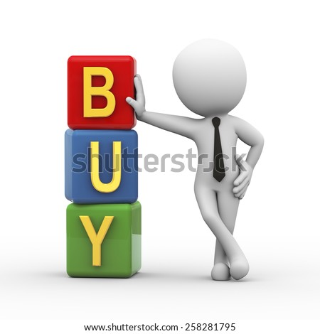 3d rendering of businessman standing with buy cubes.  3d white person people man - stock photo