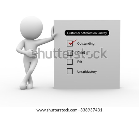 3d rendering of businessman standing with customer satisfaction survey.