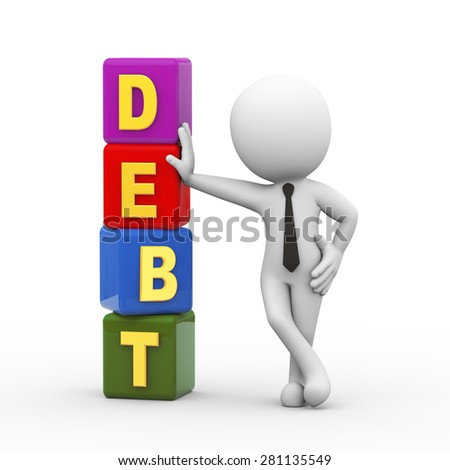 3d rendering of businessman standing with debt cubes. 3d white person people man. - stock photo