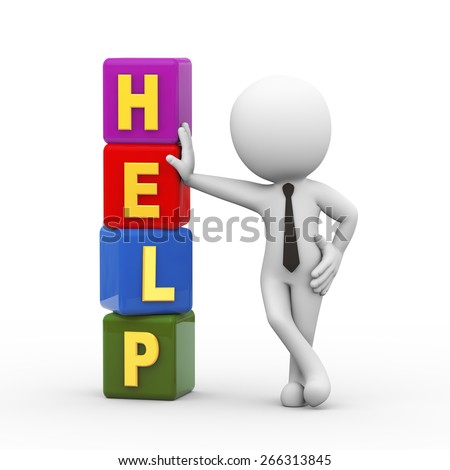 3d rendering of businessman standing with help cubes.  3d white person people man - stock photo