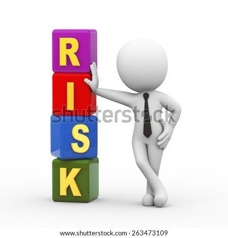 3d rendering of businessman standing with risk cubes. 3d white person people man - stock photo