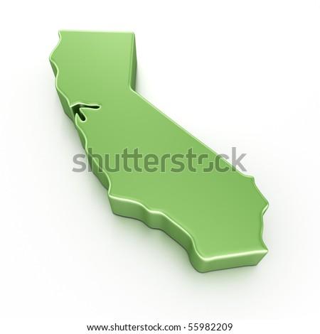 3d rendering of California - stock photo