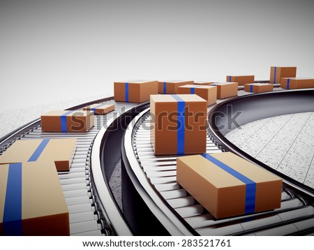 3d rendering of Cardboard boxes on a conveyor belt - stock photo