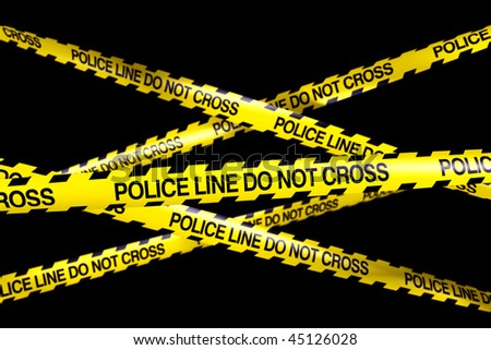 3d rendering of caution tape with POLICELINE DO NOT CROSS written on it - stock photo