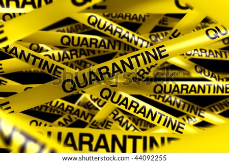 3d rendering of caution tape with QUARANTINE written on it