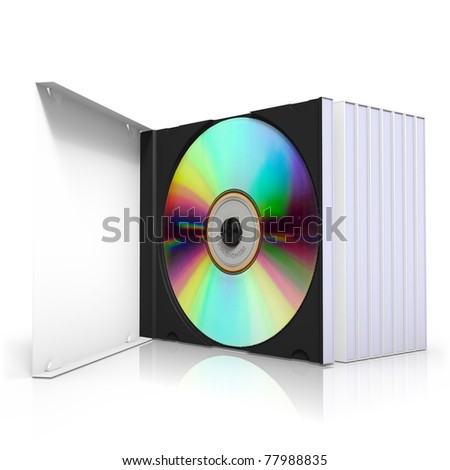 3d rendering of cd boxes, isolated on white background