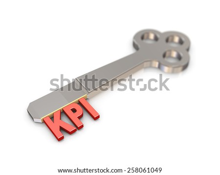 3d rendering of chrome key with text word kpi key performance indicator  - stock photo