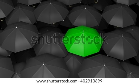 3D rendering of classic large black umbrellas tops with one green standing out. - stock photo