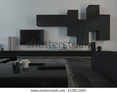 3D Rendering of Close up Elegant Black and White Furniture and Appliances inside an Architectural Living Room. - stock photo