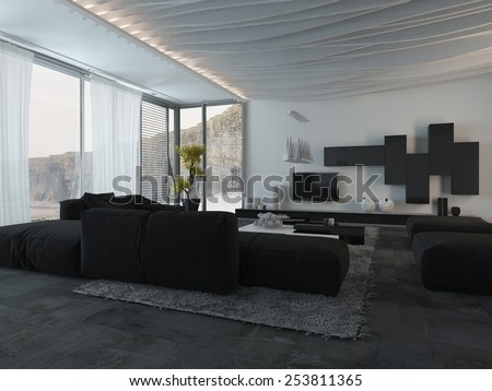 3D Rendering of Close up Elegant Black Furniture at the Architectural House Living Room - stock photo