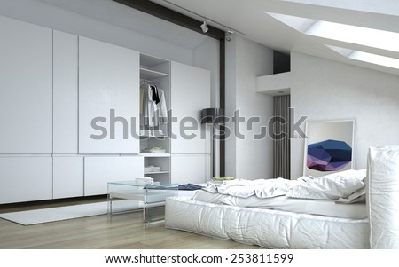 3D Rendering of Close up Fully Furnished Architectural White Bedroom with White Furniture and Wall Cabinets. - stock photo