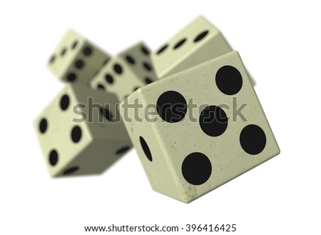 3d rendering of close-up of 3d dice falling down on a white background