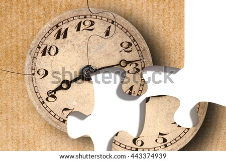 3d rendering of close-up of four puzzle pieces with print of old-fashioned shabby clock on paper background