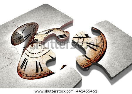 3d rendering of close-up of puzzle pieces with vintage twisted clock print. Isolated