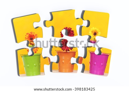 3d rendering of close-up of six puzzle pieces with print of potted flowers on yellow background. Isolated - stock photo