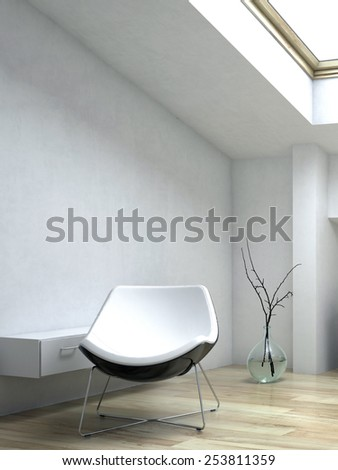 3D Rendering of Close up White Elegant Lounge Chair Beside Small Cabinet Inside an Architectural White Room - stock photo