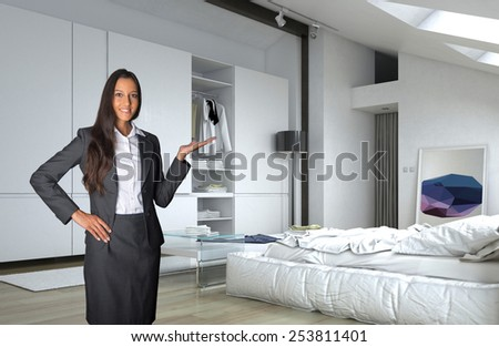 3D Rendering of Close up Young Asian Indian Female Agent Showing Architectural White Bedroom with White Furniture. - stock photo