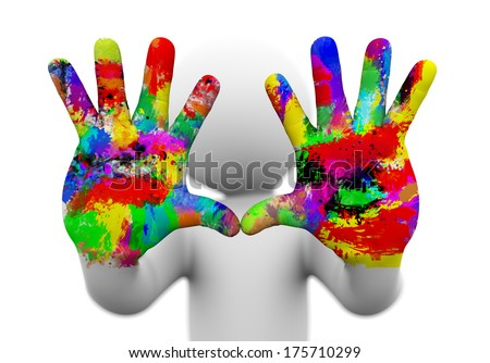 3d rendering of closeup of two painted, colorful human hands presenting concept of creativity, fun, artistic . 3d white people man character.  - stock photo