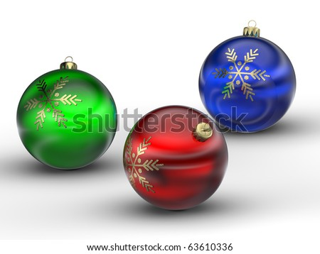 3D rendering of colorful Christmas balls