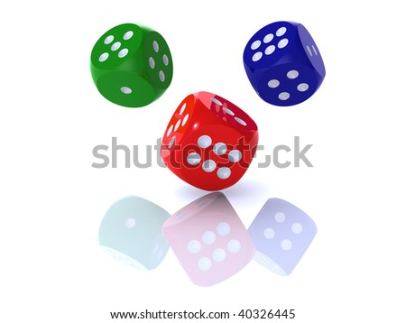 3D rendering of colorful dices on white background - stock photo