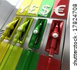 3D rendering of colorful fuel pumps with currency symbols - stock photo