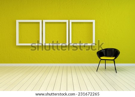 3D Rendering of Colorful modern art gallery interior with three empty white wooden picture frames on a vibrant green-yellow wall with a tub chair alongside over a white painted wooden floor - stock photo