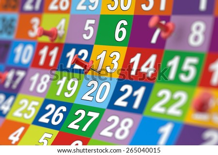 3d rendering of colorful month calendar with red pins. Illustration with soft focus - stock photo