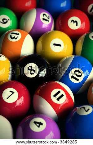 3D rendering of colorful pool balls (shallow DOF - focus on the 8 ball) - stock photo