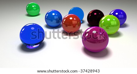 3D rendering of colourful glass marbles against a white background