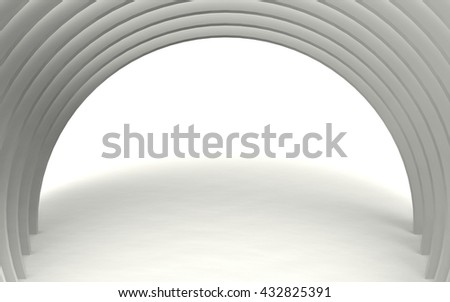 3d rendering of Column Interior. Abstract white rings Background