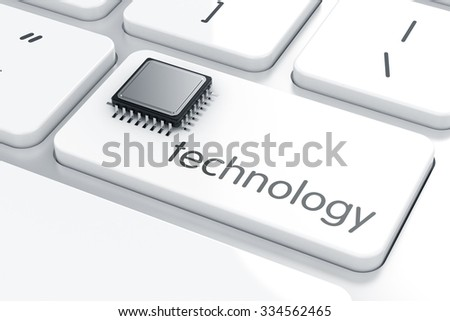 3d rendering of computer microprocessor on the laptop keyboard. Technology concept - stock photo