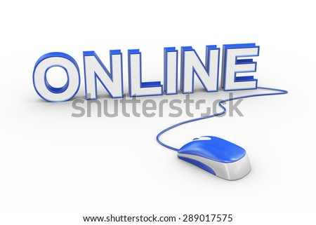 3d rendering of computer mouse connected to word text online  - stock photo