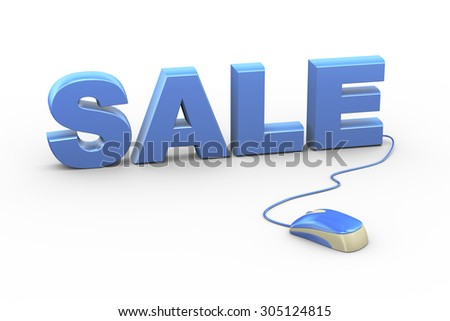 3d rendering of computer mouse connected to word text sale
