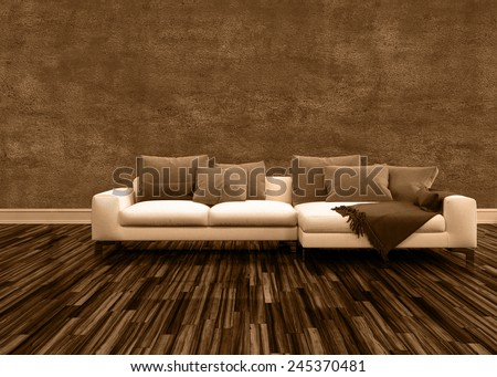 3D Rendering of Conceptual Off White Couch with Brown Pillows Inside an Architectural Brown Empty Room. - stock photo