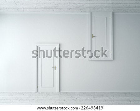 3d Rendering of Conceptual Opposite Simple Style Single Doors on Plain White Wall. One is from Wall to Floor and the Other is from Wall to Ceiling. - stock photo