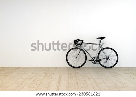 3D Rendering of Conceptual Single Mountain Bike on Empty Room Leaning on White Wall. - stock photo