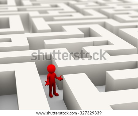 3d rendering of confused and lost person finding path through maze. 3d white person people man. - stock photo