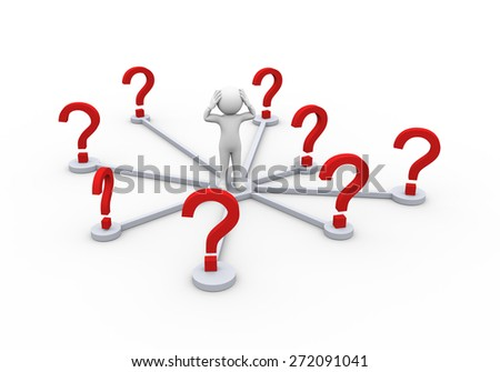 3d rendering of confused man in doubt about choosing correct path. 3d white person people man