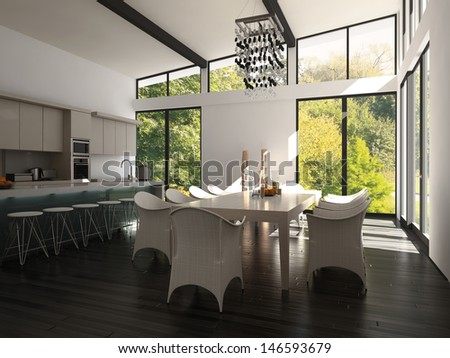 3D rendering of contemporary flat interior.  - stock photo