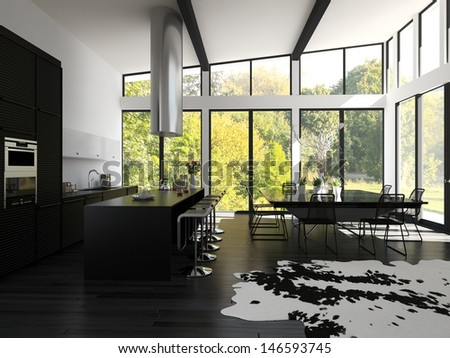 3D rendering of contemporary flat interior.