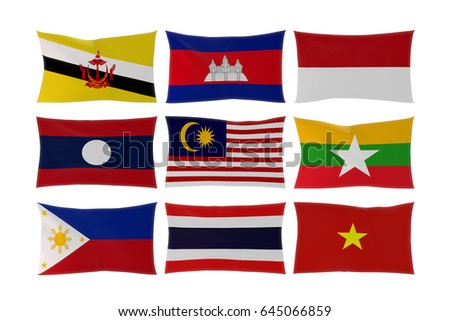 3D rendering of Country flags in South East Asia isolated on white background