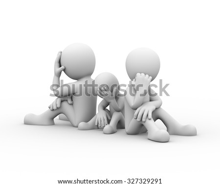 3d rendering of couple with child sitting back. Presentation of family problem, people conflict and dispute - stock photo