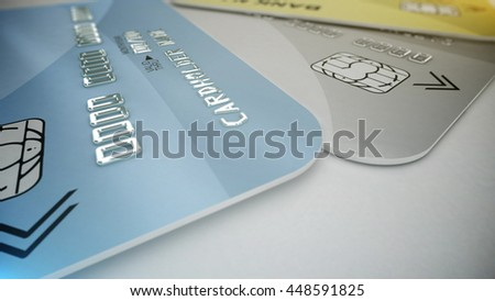 3d rendering of Credit cards on white. Shopping concept.